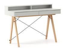 Biurko BASIC KIDS+ kolor LIGHT GREY stelaż BUK (standard)  Minimalistyczne biurko z dwoma szufladami i wygodną nadstawką na drobiazgi. Wykonane ręcznie...