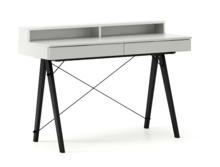 Biurko BASIC KIDS+ kolor LIGHT GREY stelaż BUK BLACK  Minimalistyczne biurko z dwoma szufladami i wygodną nadstawką na drobiazgi. Wykonane ręcznie z...