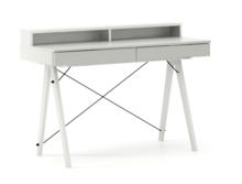 Biurko BASIC KIDS+ kolor LIGHT GREY stelaż BUK WHITE  Minimalistyczne biurko z dwoma szufladami i wygodną nadstawką na drobiazgi. Wykonane ręcznie z...