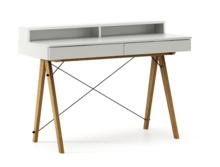 Biurko BASIC KIDS+ kolor LIGHT GREY stelaż DĄB  Minimalistyczne biurko z dwoma szufladami i wygodną nadstawką na drobiazgi. Wykonane ręcznie z litego...
