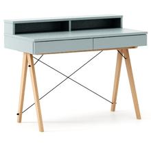 Biurko BASIC KIDS+ kolor ICE BLUE stelaż BUK (standard)  Minimalistyczne biurko z dwoma szufladami i wygodną nadstawką na drobiazgi. Wykonane...