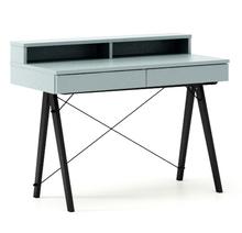 Biurko BASIC KIDS+ kolor ICE BLUE stelaż BUK BLACK  Minimalistyczne biurko z dwoma szufladami i wygodną nadstawką na drobiazgi. Wykonane ręcznie z...