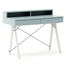 Biurko BASIC KIDS+ kolor ICE BLUE stelaż BUK WHITE  Minimalistyczne biurko z dwoma szufladami i wygodną nadstawką na drobiazgi. Wykonane ręcznie z...