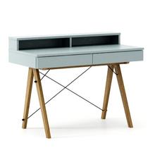 Biurko BASIC KIDS+ kolor ICE BLUE stelaż DĄB  Minimalistyczne biurko z dwoma szufladami i wygodną nadstawką na drobiazgi. Wykonane ręcznie z...