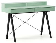 Biurko BASIC KIDS+ kolor MINT stelaż BUK BLACK  Minimalistyczne biurko z dwoma szufladami i wygodną nadstawką na drobiazgi. Wykonane ręcznie z litego...