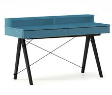 Biurko BASIC KIDS+ kolor OCEANIC stelaż BUK BLACK  Minimalistyczne biurko z dwoma szufladami i wygodną nadstawką na drobiazgi. Wykonane ręcznie z litego...