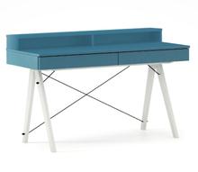 Biurko BASIC KIDS+ kolor OCEANIC stelaż BUK WHITE  Minimalistyczne biurko z dwoma szufladami i wygodną nadstawką na drobiazgi. Wykonane ręcznie z litego...
