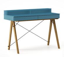 Biurko BASIC KIDS+ kolor OCEANIC stelaż DĄB  Minimalistyczne biurko z dwoma szufladami i wygodną nadstawką na drobiazgi. Wykonane ręcznie z litego...