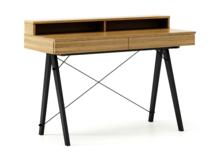 Biurko BASIC KIDS+ kolor RAW OAK stelaż BUK BLACK  Minimalistyczne biurko z dwoma szufladami i wygodną nadstawką na drobiazgi. Wykonane ręcznie z litego...