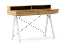 Biurko BASIC KIDS+ kolor RAW OAK stelaż BUK WHITE  Minimalistyczne biurko z dwoma szufladami i wygodną nadstawką na drobiazgi. Wykonane ręcznie z litego...