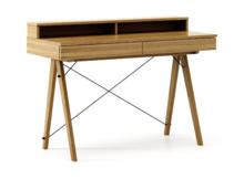 Biurko BASIC KIDS+ kolor RAW OAK stelaż DĄB  Minimalistyczne biurko z dwoma szufladami i wygodną nadstawką na drobiazgi. Wykonane ręcznie z litego...
