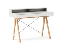 Biurko BASIC KIDS+ kolor WHITE stelaż BUK (standard)  Minimalistyczne biurko z dwoma szufladami i wygodną nadstawką na drobiazgi. Wykonane ręcznie z...