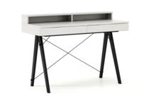 Biurko BASIC KIDS+ kolor WHITE stelaż BUK BLACK  Minimalistyczne biurko z dwoma szufladami i wygodną nadstawką na drobiazgi. Wykonane ręcznie z litego...