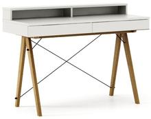 Biurko BASIC KIDS+ kolor WHITE stelaż DĄB  Minimalistyczne biurko z dwoma szufladami i wygodną nadstawką na drobiazgi. Wykonane ręcznie z litego drewna...