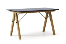STÓŁ BASIC kolor NAVY stelaż DĄB  Minimalistyczny stół w duchu SCANDI, idealny do jadalni lub kuchni. Wykonany ręcznie z litego drewna i blatu...