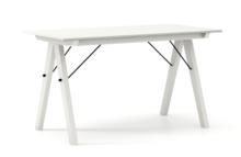 STÓŁ BASIC kolor LIGHT GREY stelaż BUK WHITE  Minimalistyczny stół w duchu SCANDI, idealny do jadalni lub kuchni. Wykonany ręcznie z litego drewna i...
