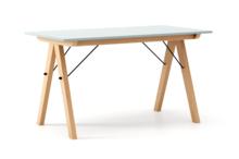 STÓŁ BASIC kolor ICE BLUE stelaż BUK (standard)  Minimalistyczny stół w duchu SCANDI, idealny do jadalni lub kuchni. Wykonany ręcznie z litego drewna...