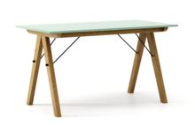 STÓŁ BASIC kolor MINT stelaż DĄB  Minimalistyczny stół w duchu SCANDI, idealny do jadalni lub kuchni. Wykonany ręcznie z litego drewna i blatu...