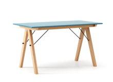 STÓŁ BASIC kolor OCEANIC stelaż BUK (standard)  Minimalistyczny stół w duchu SCANDI, idealny do jadalni lub kuchni. Wykonany ręcznie z litego drewna i...
