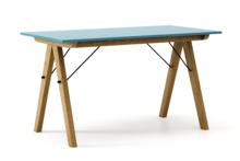 STÓŁ BASIC kolor OCEANIC stelaż DĄB  Minimalistyczny stół w duchu SCANDI, idealny do jadalni lub kuchni. Wykonany ręcznie z litego drewna i blatu...