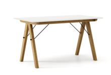 STÓŁ BASIC kolor WHITE stelaż DĄB  Minimalistyczny stół w duchu SCANDI, idealny do jadalni lub kuchni. Wykonany ręcznie z litego drewna i blatu...