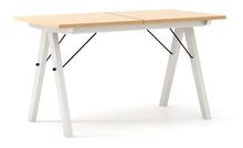 STÓŁ WOODIE blat BUK stelaż BUK WHITE ROZKŁADANY  Solidny, drewniany stół w duchu SCANDI, idealny do jadalni lub kuchni. Opcja rozkładania umożliwi...