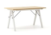 STÓŁ WOODIE blat DĄB stelaż BUK WHITE ROZKŁADANY  Solidny, drewniany stół w duchu SCANDI, idealny do jadalni lub kuchni. Opcja rozkładania umożliwi...
