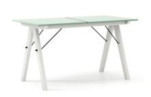 STÓŁ BASIC ROZKŁADANY kolor MINT stelaż BUK WHITE  Minimalistyczny stół w duchu SCANDI, idealny do jadalni lub kuchni. Opcja rozkładania umożliwi...