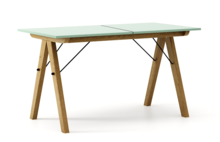 STÓŁ BASIC ROZKŁADANY kolor MINT stelaż DĄB  Minimalistyczny stół w duchu SCANDI, idealny do jadalni lub kuchni. Opcja rozkładania umożliwi...
