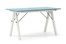STÓŁ BASIC ROZKŁADANY kolor OCEANIC stelaż BUK WHITE  Minimalistyczny stół w duchu SCANDI, idealny do jadalni lub kuchni. Opcja rozkładania umożliwi...
