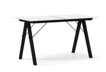 STÓŁ BASIC ROZKŁADANY kolor WHITE stelaż BUK BLACK  Minimalistyczny stół w duchu SCANDI, idealny do jadalni lub kuchni. Opcja rozkładania umożliwi...