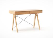 Biurko BASIC LUXURY WOOD blat BUK stelaż BUK (standard)  Minimalistyczne biurko z dwoma szufladami i wygodną nadstawką na drobiazgi. Wykonane ręcznie z...