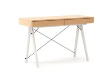 Biurko BASIC LUXURY WOOD blat BUK stelaż BUK WHITE  Minimalistyczne biurko z dwoma szufladami i wygodną nadstawką na drobiazgi. Wykonane ręcznie z...