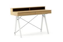Biurko BASIC+ LUXURY WOOD blat DĄB stelaż BUK WHITE  Minimalistyczne biurko z dwoma szufladami i wygodną nadstawką na drobiazgi. Wykonane ręcznie z...
