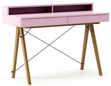 Biurko BASIC+ LUXURY COLORS stelaż DĄB  Minimalistyczne biurko z dwoma szufladami i wygodną nadstawką na drobiazgi. Wykonane ręcznie z litego drewna i...