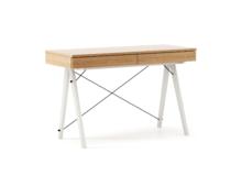 Biurko BASIC KIDS LUXURY WOOD blat DĄB stelaż WHITE  Minimalistyczne biurko z dwoma szufladami i wygodną nadstawką na drobiazgi. Wykonane ręcznie z...