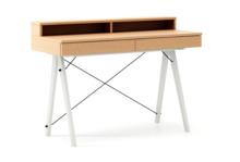Biurko BASIC KIDS+ LUXURY WOOD blat BUK stelaż BUK WHITE  Minimalistyczne biurko z dwoma szufladami i wygodną nadstawką na drobiazgi. Wykonane ręcznie z...