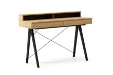 Biurko BASIC KIDS+ LUXURY WOOD blat DĄB stelaż BUK BLACK  Minimalistyczne biurko z dwoma szufladami i wygodną nadstawką na drobiazgi. Wykonane ręcznie...