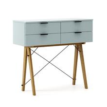 KONSOLA MAXI kolor ICE BLUE stelaż DĄB  Wielofunkcyjna konsola do hallu lub salonu. Idealnie posłuży jako stolik do odłożenia drobiazgów lub...