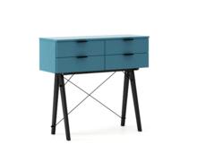 KONSOLA MAXI kolor OCEANIC stelaż BUK BLACK  Wielofunkcyjna konsola do hallu lub salonu. Idealnie posłuży jako stolik do odłożenia drobiazgów lub...