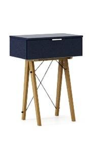 KONSOLA MINI kolor NAVY stelaż DĄB  Wielofunkcyjna MINI konsola do hallu lub salonu. Idealnie posłuży jako stolik do odłożenia drobiazgów lub...