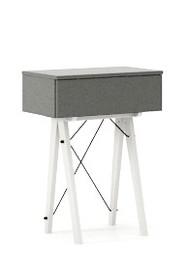 KONSOLA MINI kolor GREY stelaż BUK WHITE  Wielofunkcyjna MINI konsola do hallu lub salonu. Idealnie posłuży jako stolik do odłożenia drobiazgów lub...