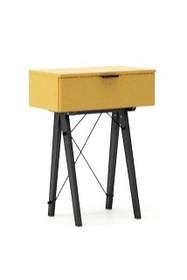KONSOLA MINI kolor LIGHT MUSTARD stelaż BUK BLACK  Wielofunkcyjna MINI konsola do hallu lub salonu. Idealnie posłuży jako stolik do odłożenia...
