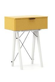 KONSOLA MINI kolor LIGHT MUSTARD stelaż BUK WHITE  Wielofunkcyjna MINI konsola do hallu lub salonu. Idealnie posłuży jako stolik do odłożenia...