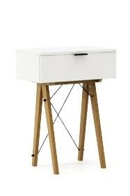 KONSOLA MINI kolor WHITE stelaż DĄB  Wielofunkcyjna MINI konsola do hallu lub salonu. Idealnie posłuży jako stolik do odłożenia drobiazgów lub...