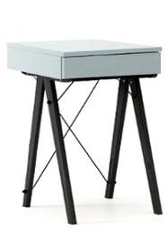 Toaletka MINI kolor ICE BLUE stelaż BUK BLACK  Minimalistyczne mini-biurko z funkcją toaletki. Pod klapą kryje się aksamitna szkatułka i duże lustro....