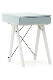 Toaletka MINI kolor ICE BLUE stelaż BUK WHITE  Minimalistyczne mini-biurko z funkcją toaletki. Pod klapą kryje się aksamitna szkatułka i duże lustro....