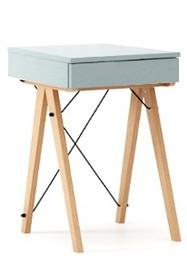 Toaletka MINI kolor ICE BLUE stelaż BUK (standard)  Minimalistyczne mini-biurko z funkcją toaletki. Pod klapą kryje się aksamitna szkatułka i duże...