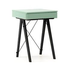 Toaletka MINI kolor MINT stelaż BUK BLACK  Minimalistyczne mini-biurko z funkcją toaletki. Pod klapą kryje się aksamitna szkatułka i duże lustro....