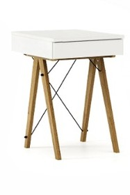 Toaletka MINI kolor WHITE stelaż DĄB  Minimalistyczne mini-biurko z funkcją toaletki. Pod klapą kryje się aksamitna szkatułka i duże lustro. Wykonane...